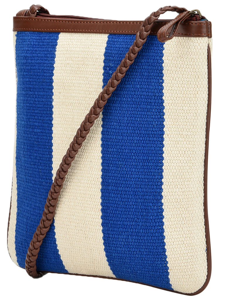 Blue White Cotton Kilim with Faux Leather Stripe U Sling Bag