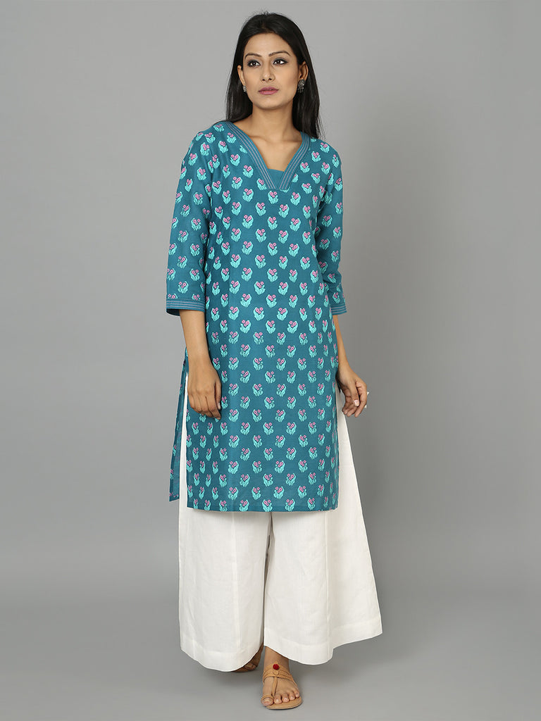 Teal Blue Cotton Linen Straight Cut Kurta