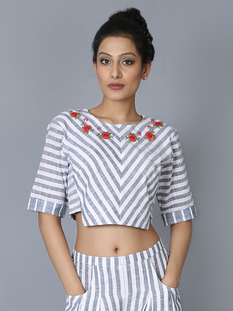 Blue White Cotton Striped Rosette Top