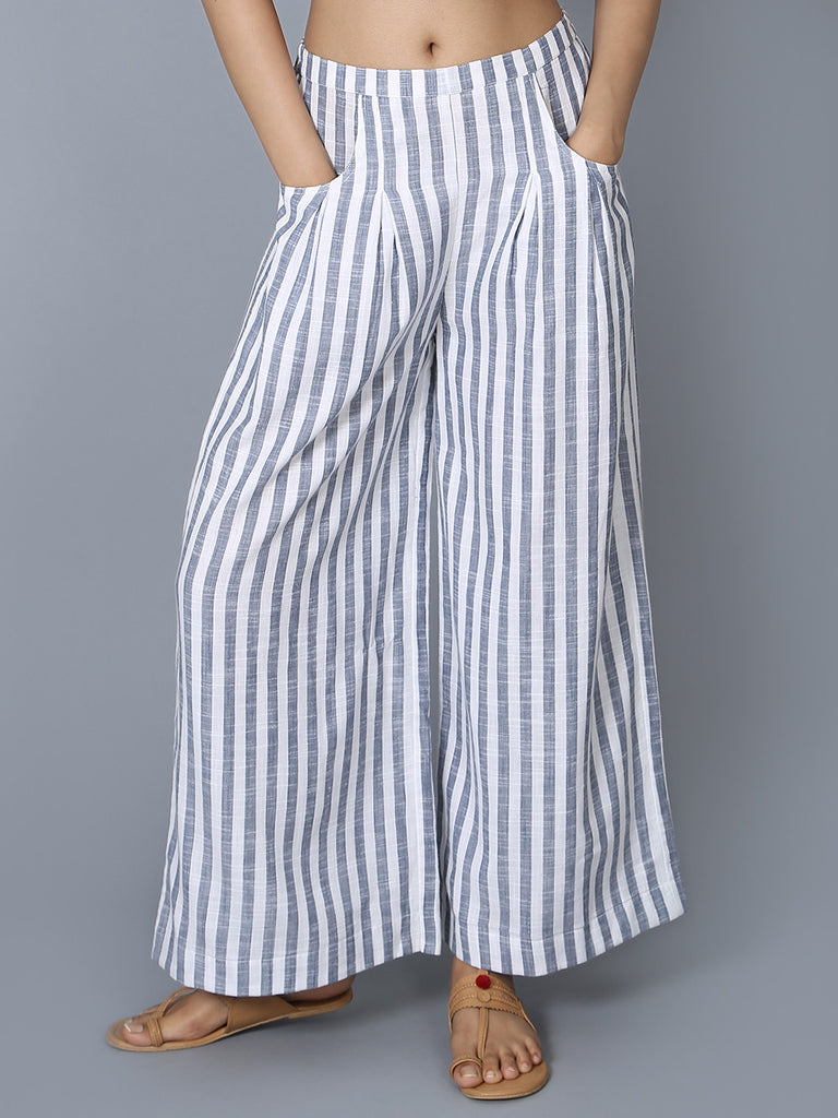 Blue White Cotton Striped Trousers