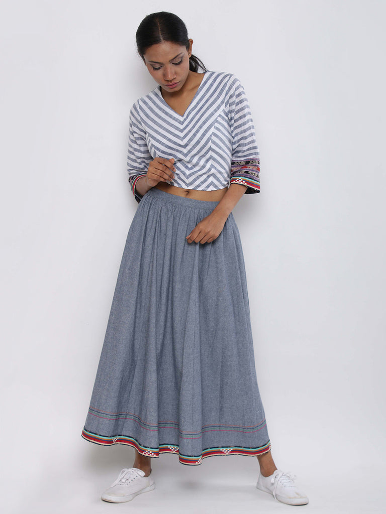 Blue White Cotton Top with Banjara Skirt