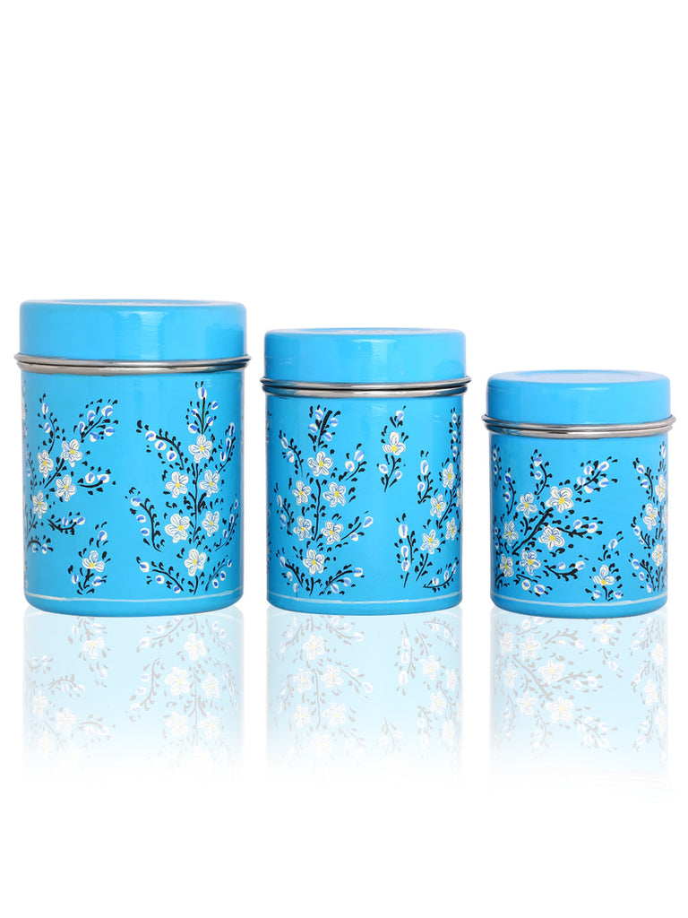 Blue White Hand Painted Steel Ware Canisters - Set of 3