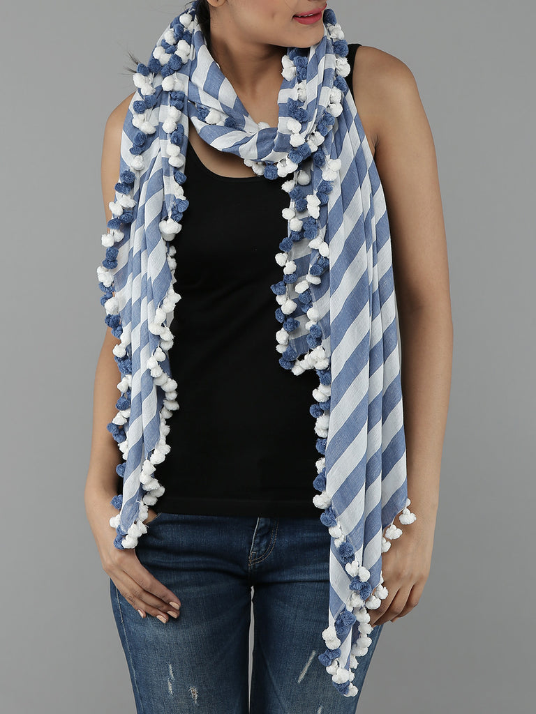 Blue White Khadi Cotton Stole