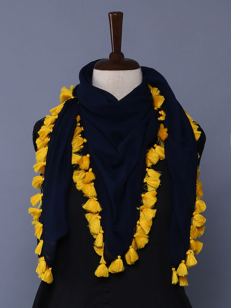 Blue Yellow Cotton Mulmul Square Scarf with Tassels