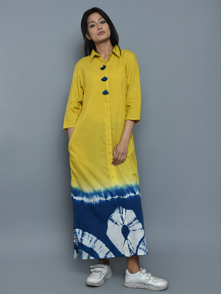 Blue Yellow Cotton Tie and Dye Shirt Dress