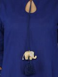 Blue 'Baby Elephant' tassel Khadi Kurta with Palazzo - Set of 2