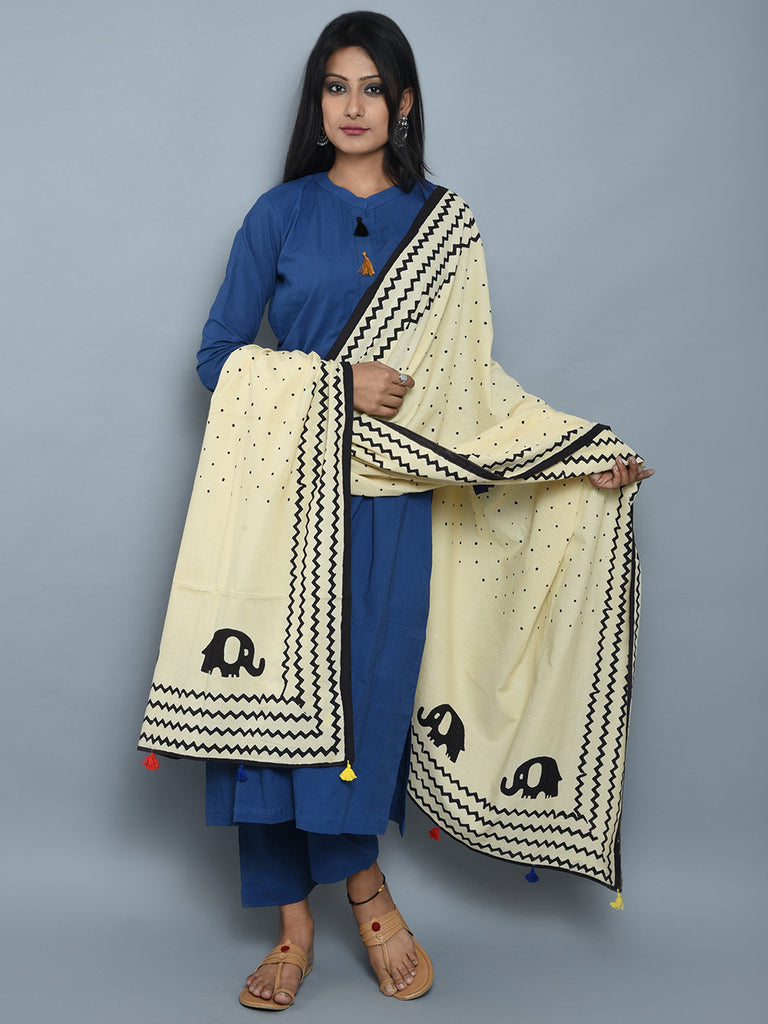Blue Off White Cotton Kurta and Pants with Block Printed Dupatta- Set of 3