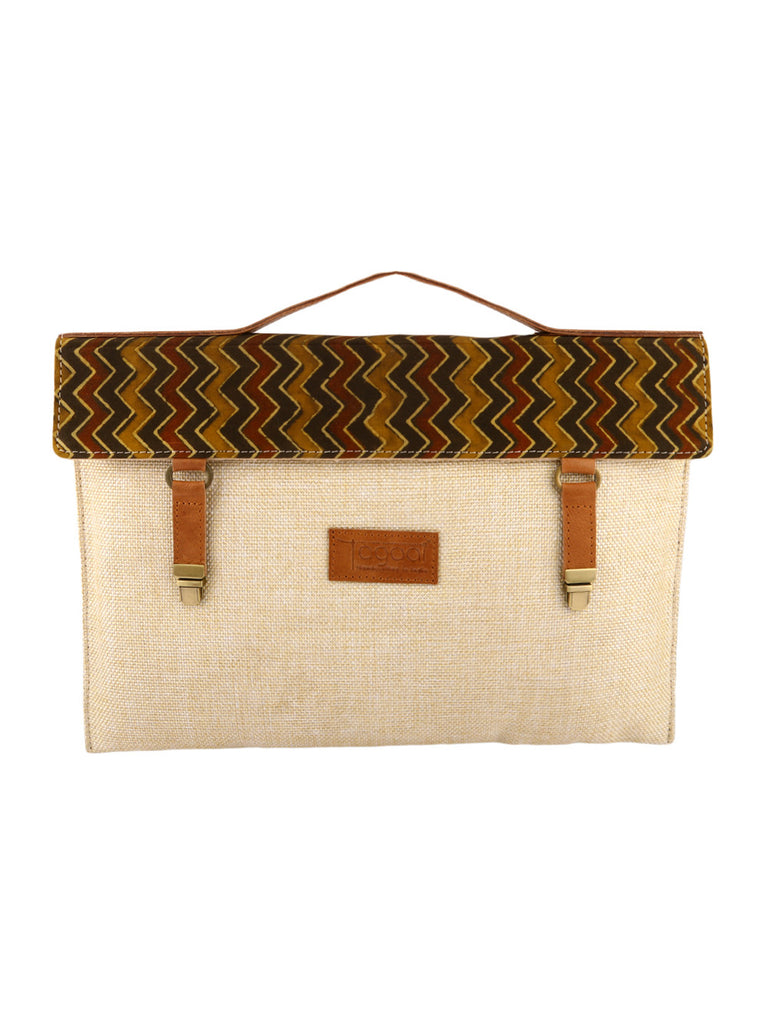 Brown Ajrak Print Jute Laptop/Mac Sleeve