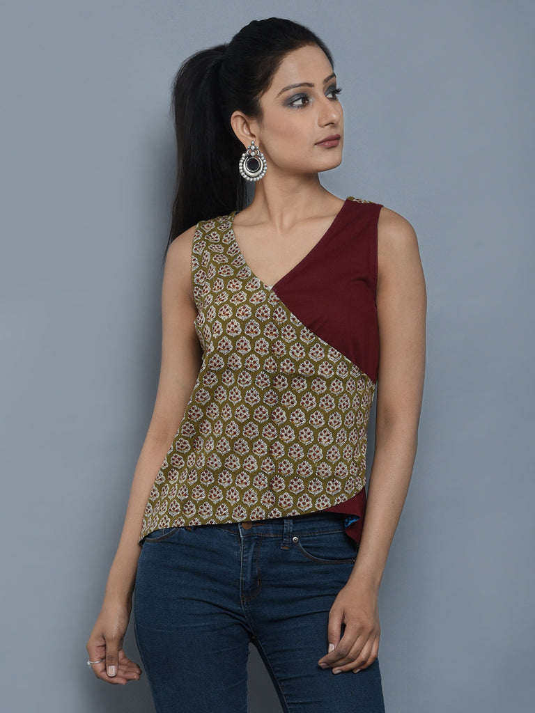Brown Beige Cambric Cotton Achkan Short Top