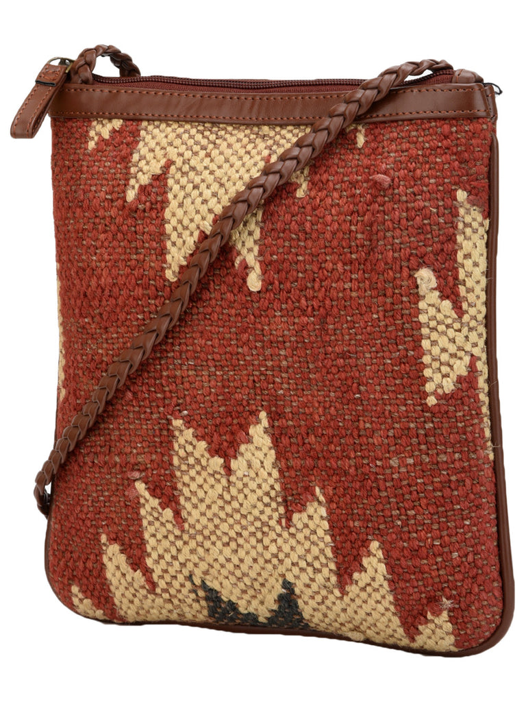 Brown Beige Cotton Kilim with Faux Leather Candy U Sling Bag