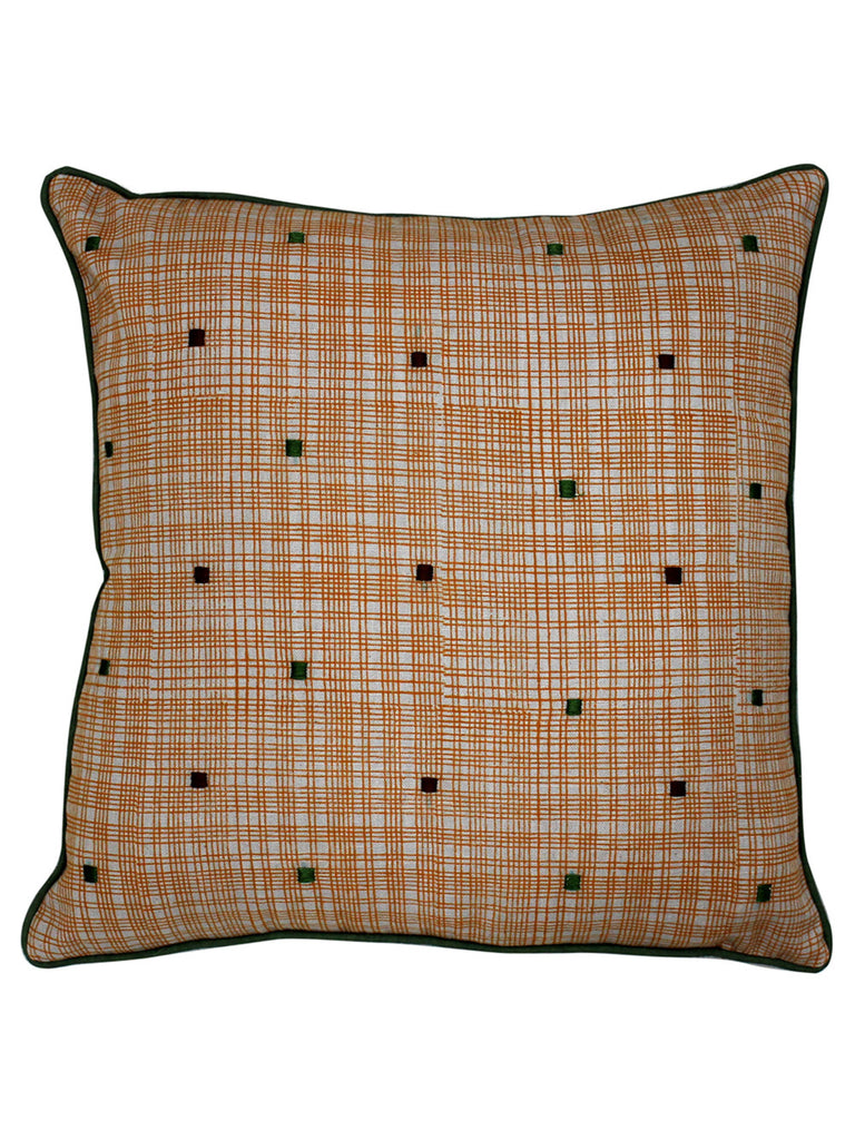 Brown Ochre Yellow Cotton Slub Block Printed and Embroidered Cushion Cover