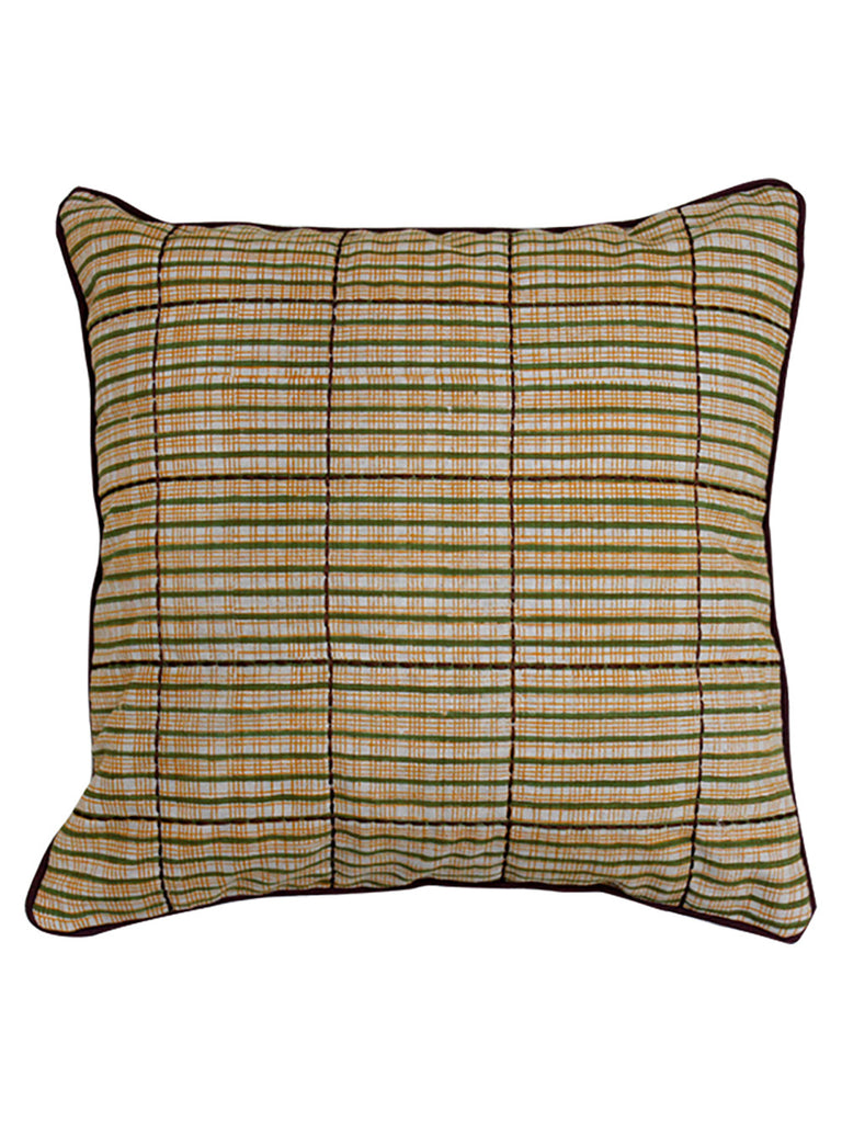 Brown Ochre Yellow Green Cotton Slub Block Printed and Embroidered Cushion Cover