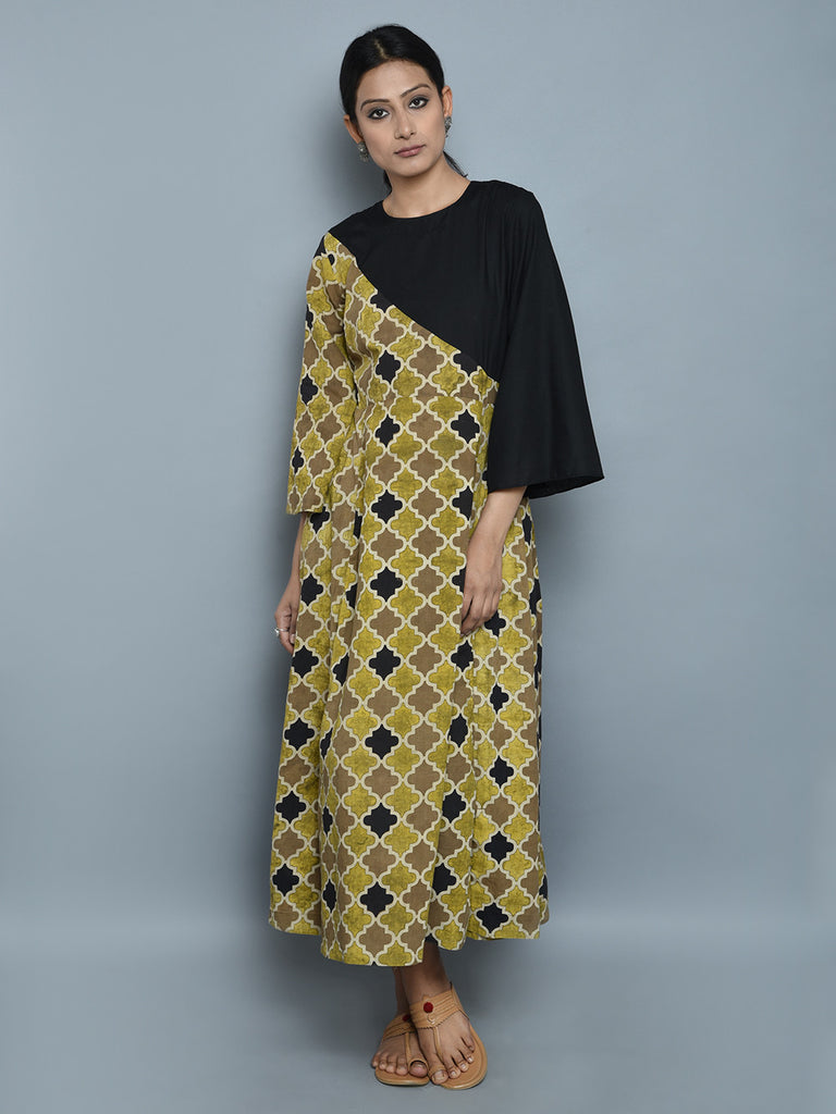 Brown Black  Hand Block Printed Cotton Dress