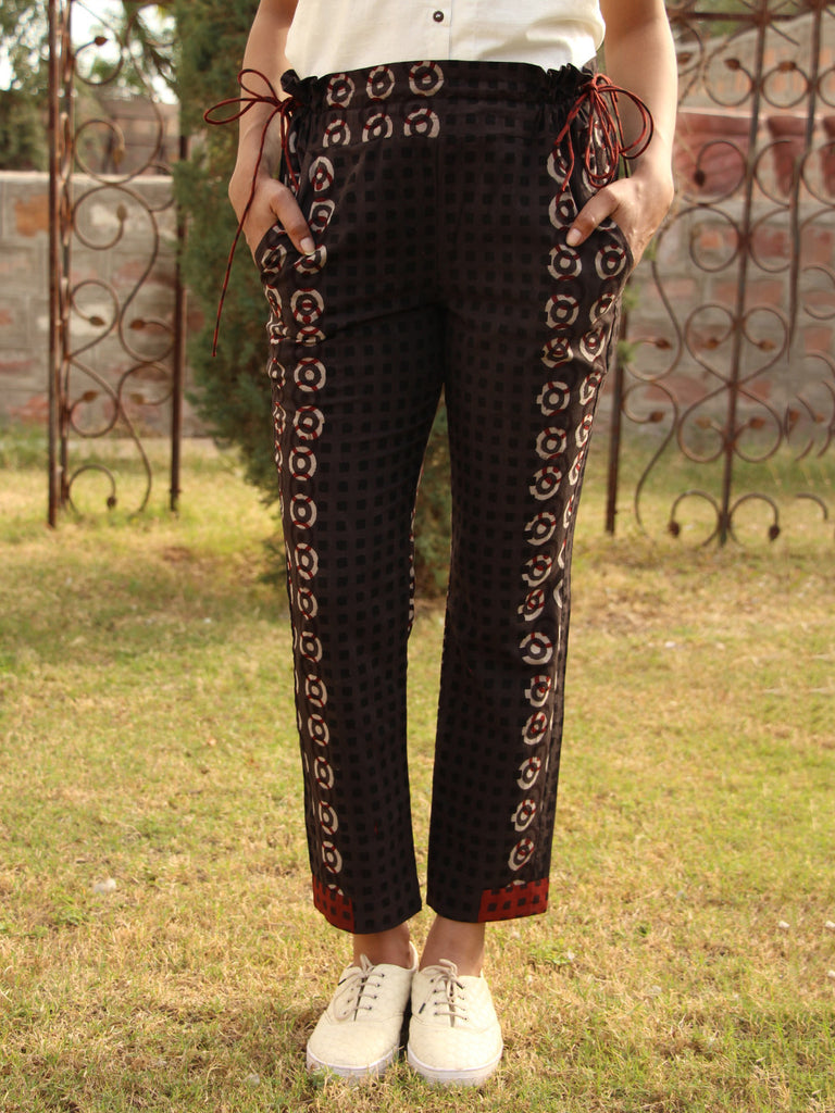 Brown Block Printed Cotton Trousers