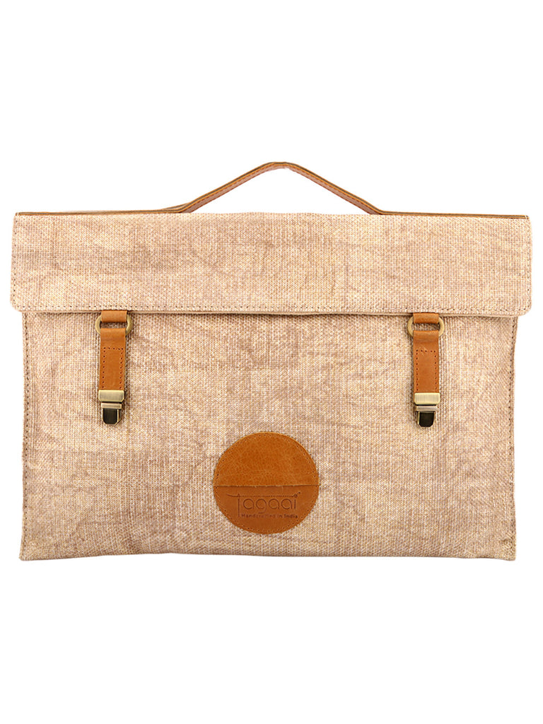 Brown Block Printed Jute Laptop/Mac Sleeve