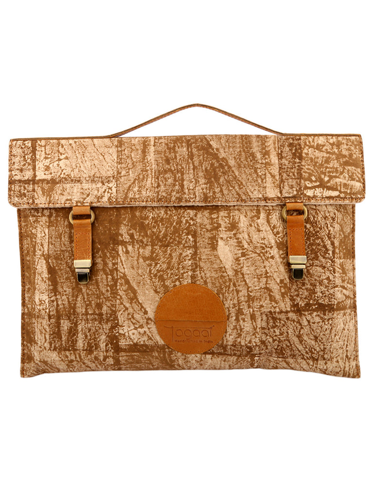 Brown Canvas Block Printed Ikat Laptop/Mac Sleeve