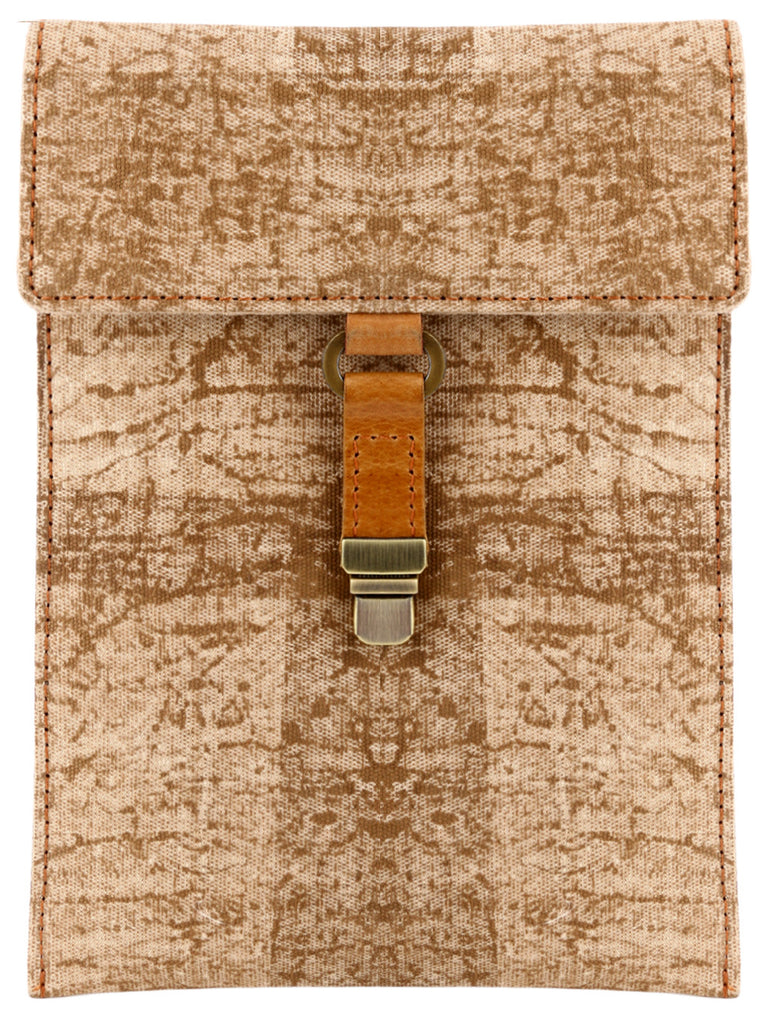 Brown Canvas Block Printed iPad Mini/Kindle Sleeve