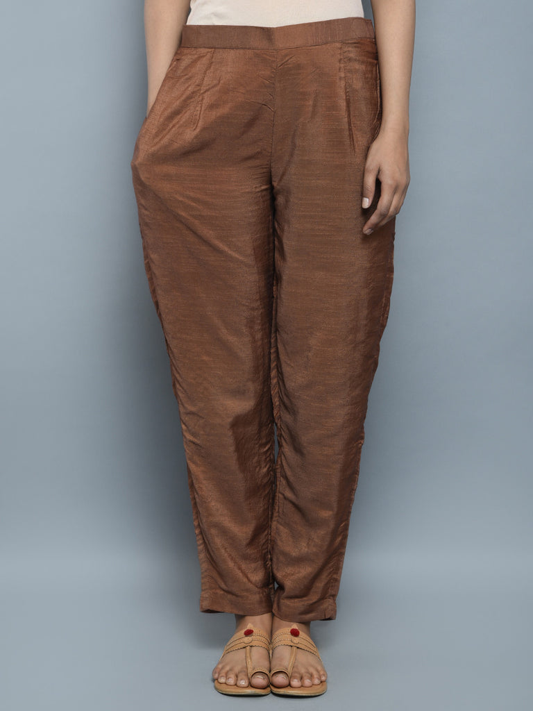 Brown Chanderi Cotton Pants