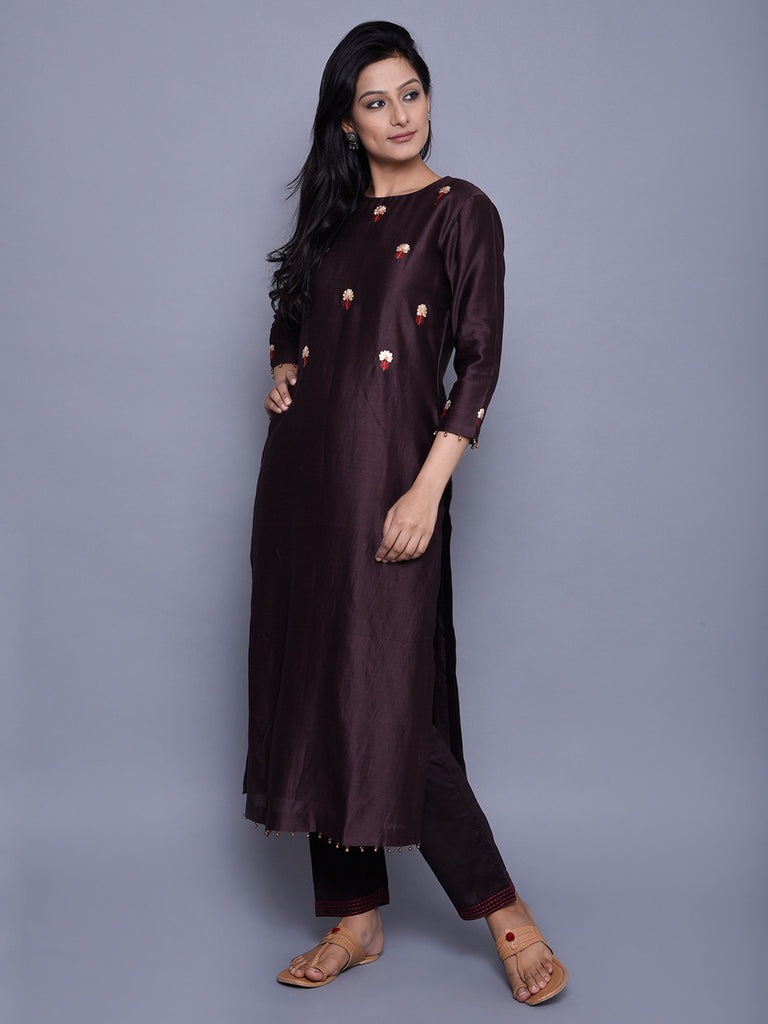 Brown Chanderi Embroidered Kurta
