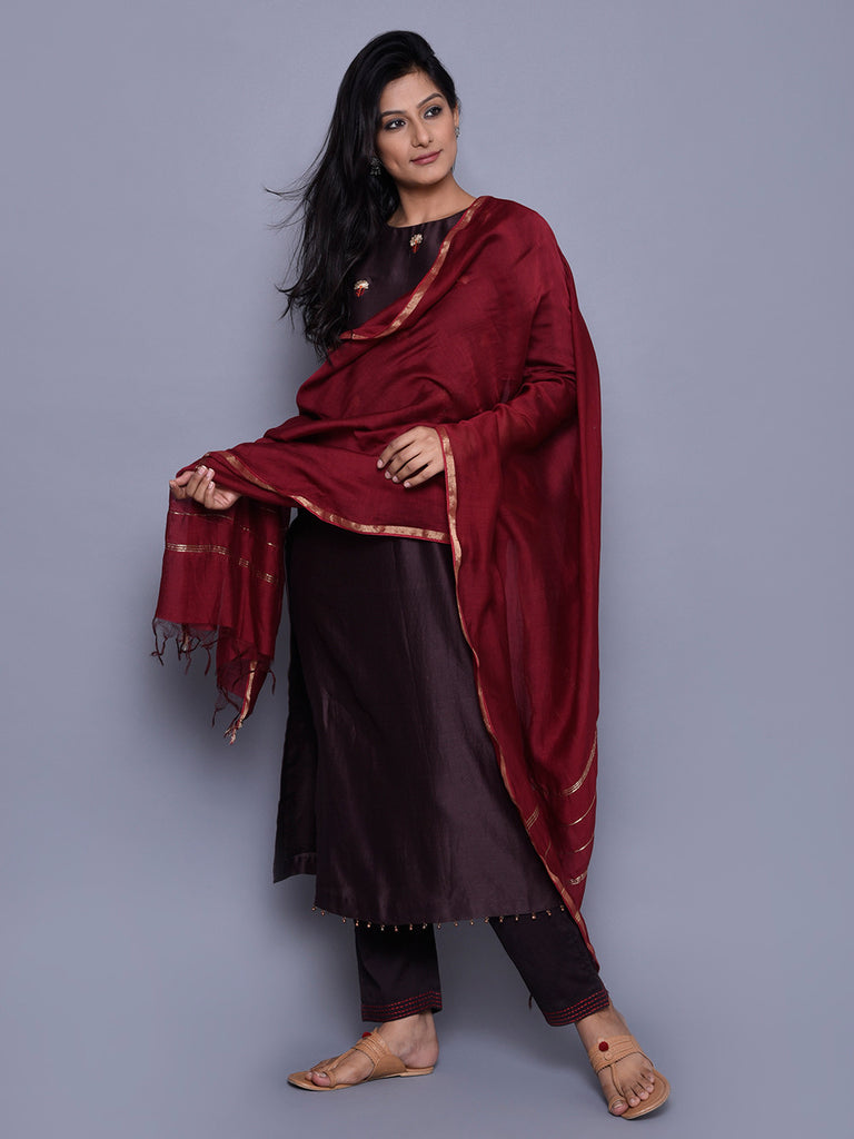 Red Chanderi Zari Finished Dupatta