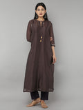 Brown Chanderi Kurta with Purple Pants - Set of 3