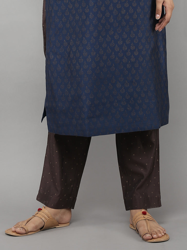 Brown Chanderi Pants with Cotton Lining