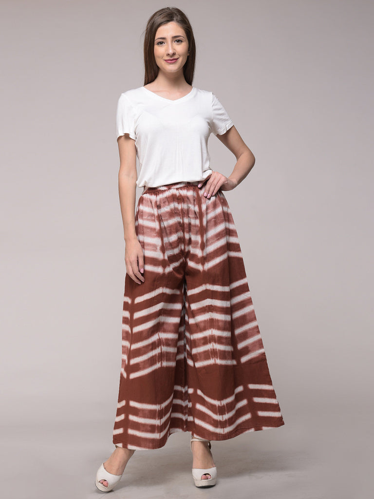 Brown Clamp Dyed Cotton Elasticated Palazzo