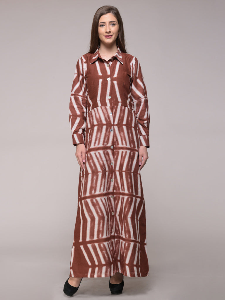 Brown Cotton Clamp Dyed Dress