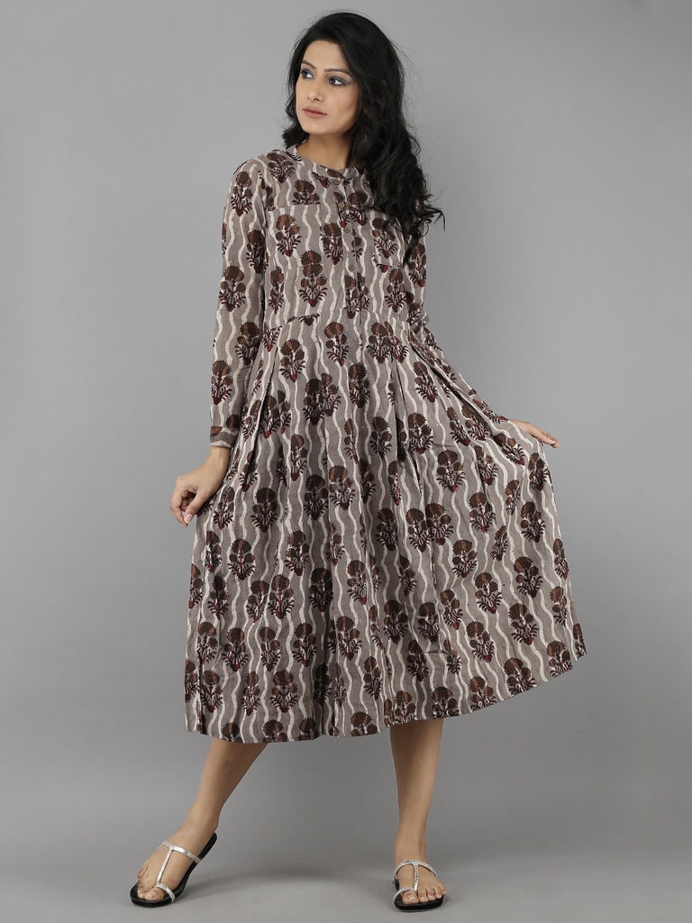 Brown Cotton Hand Block Printed Dress