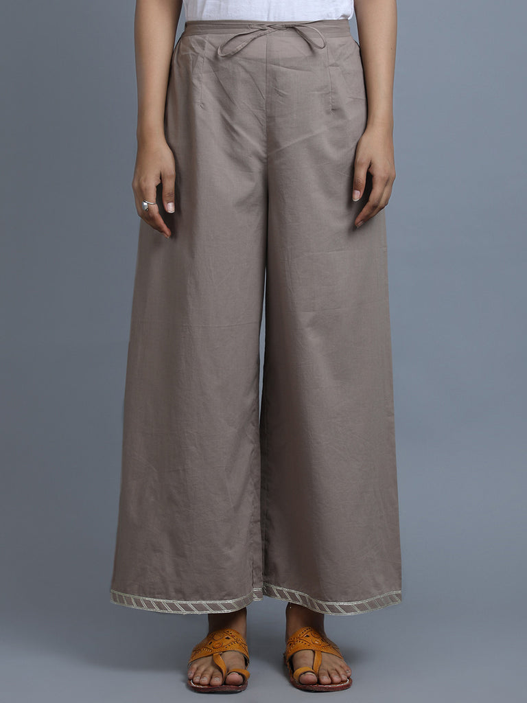 Brown Cotton Palazzo
