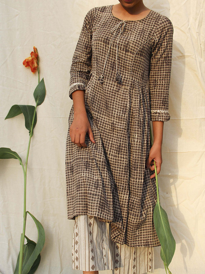 Brown Cotton Side Pleat Kurta
