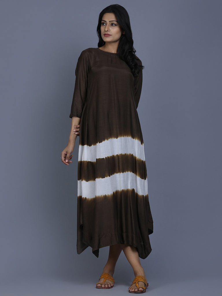 Brown Cotton Silk Batik Dress