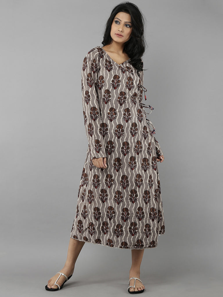Brown Handblock Printed Cotton Kedia Dress