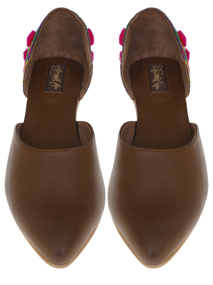 Brown Handcrafted Leatherette Flat