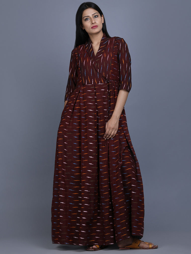 Brown Ikat Cotton Maxi Dress