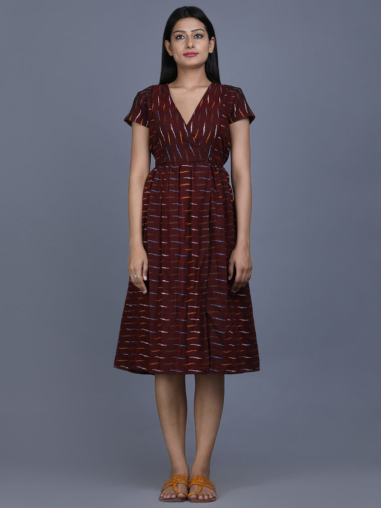 Brown Ikat Cotton Wrap Dress
