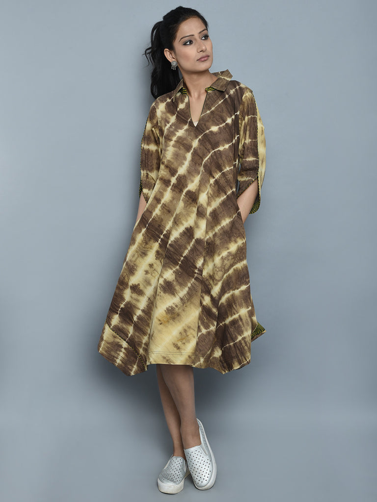 Brown Ivory Clamp Dyed Cotton Dress