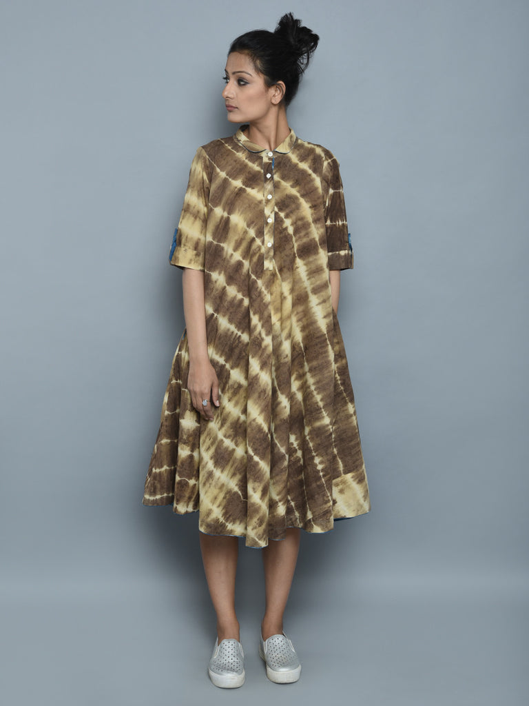 Brown Ivory Cotton Clamp Dyed Dress