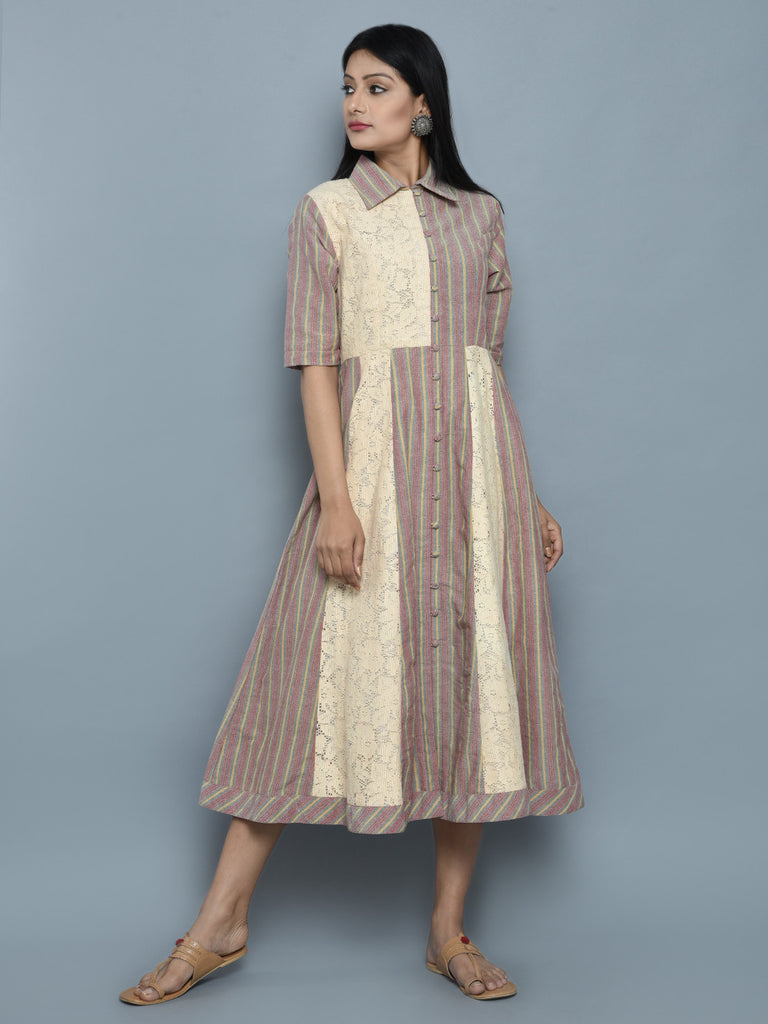 Brown Ivory Cotton Panelled Shirt Dress