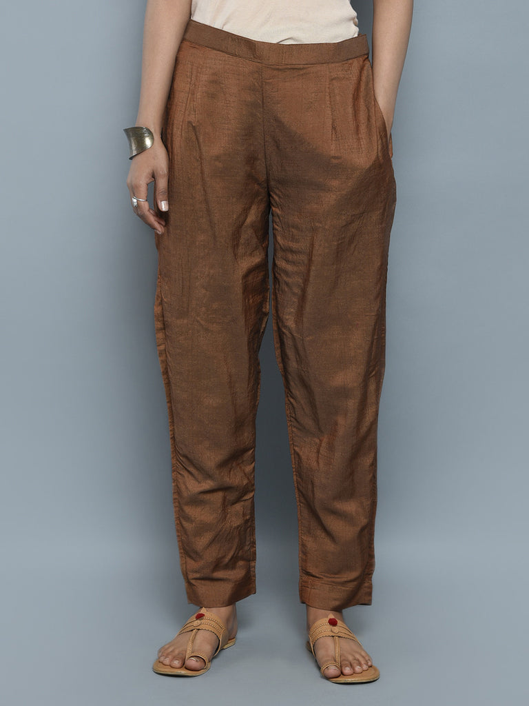 Brown Khadi Cotton Silk Pants