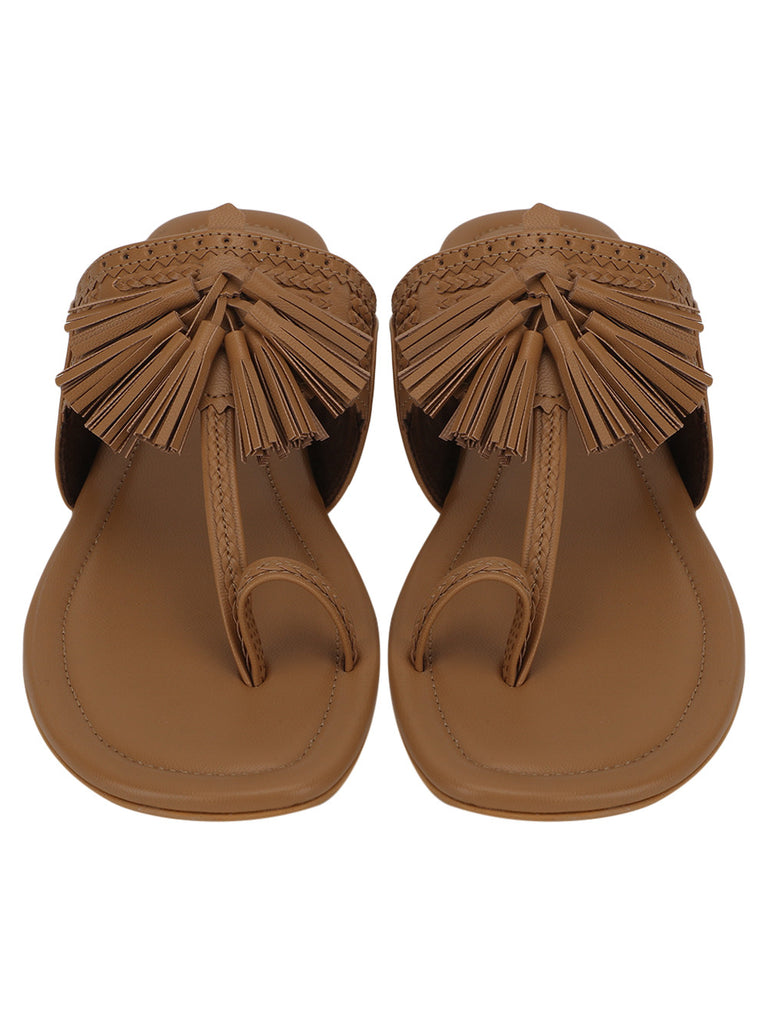 Brown Leatherette Jhalar Flats