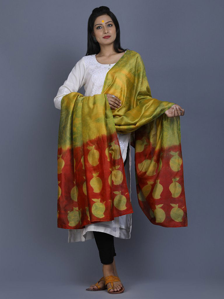 Parrot Green Red Clamp Dyed Chanderi Silk Mango Dupatta