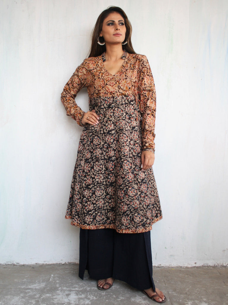 Brown Maroon Kalamkari Block Printed Cotton Flared Kurta