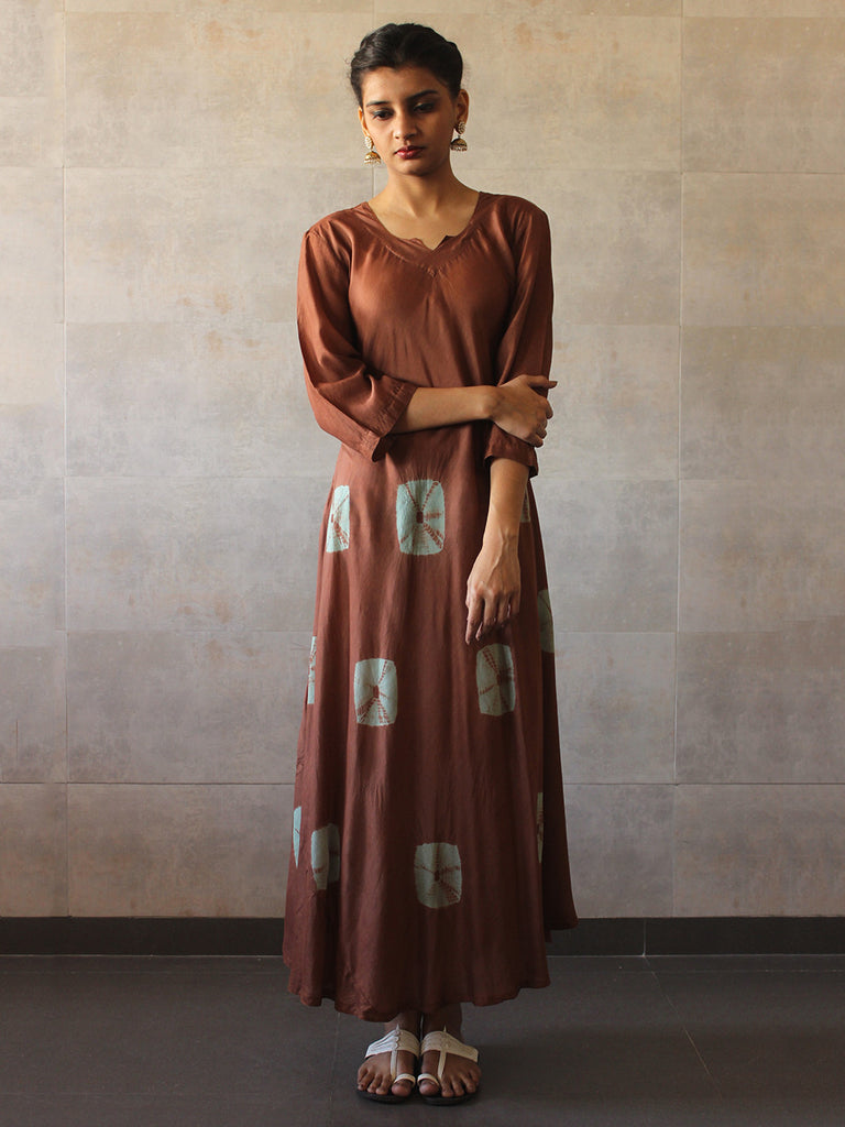 Brown Mint Green Cotton Silk Bandhej Dress