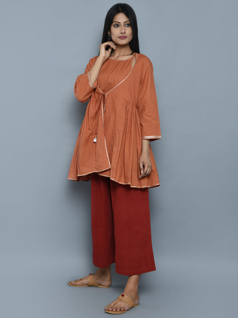 Rust Orange Mul Cotton Gota Embroidered Achkan