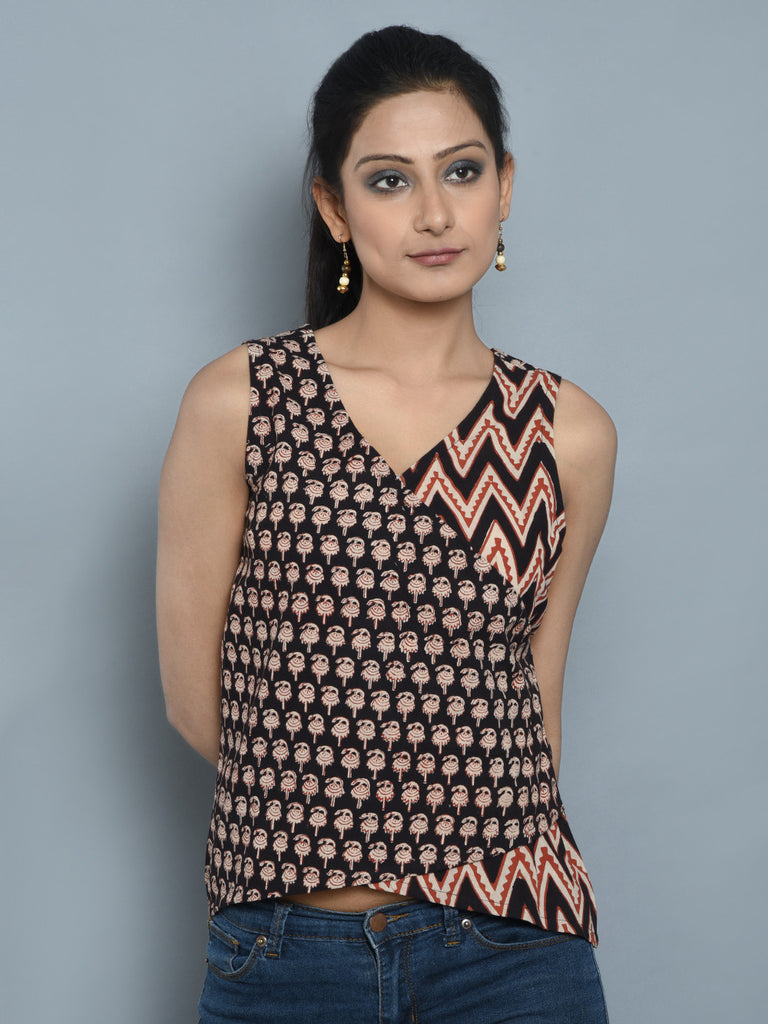 Brown Off White Cambric Cotton Asymmetric Achkan Short Top