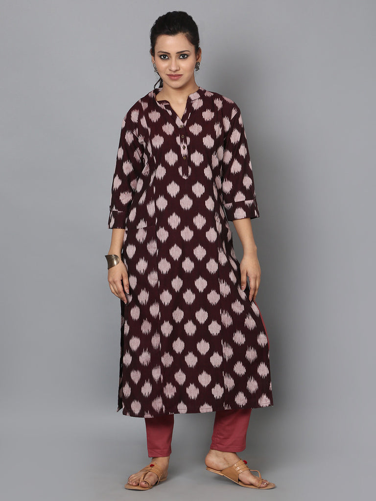Brown Cotton Ikat Front Pocket Kurta
