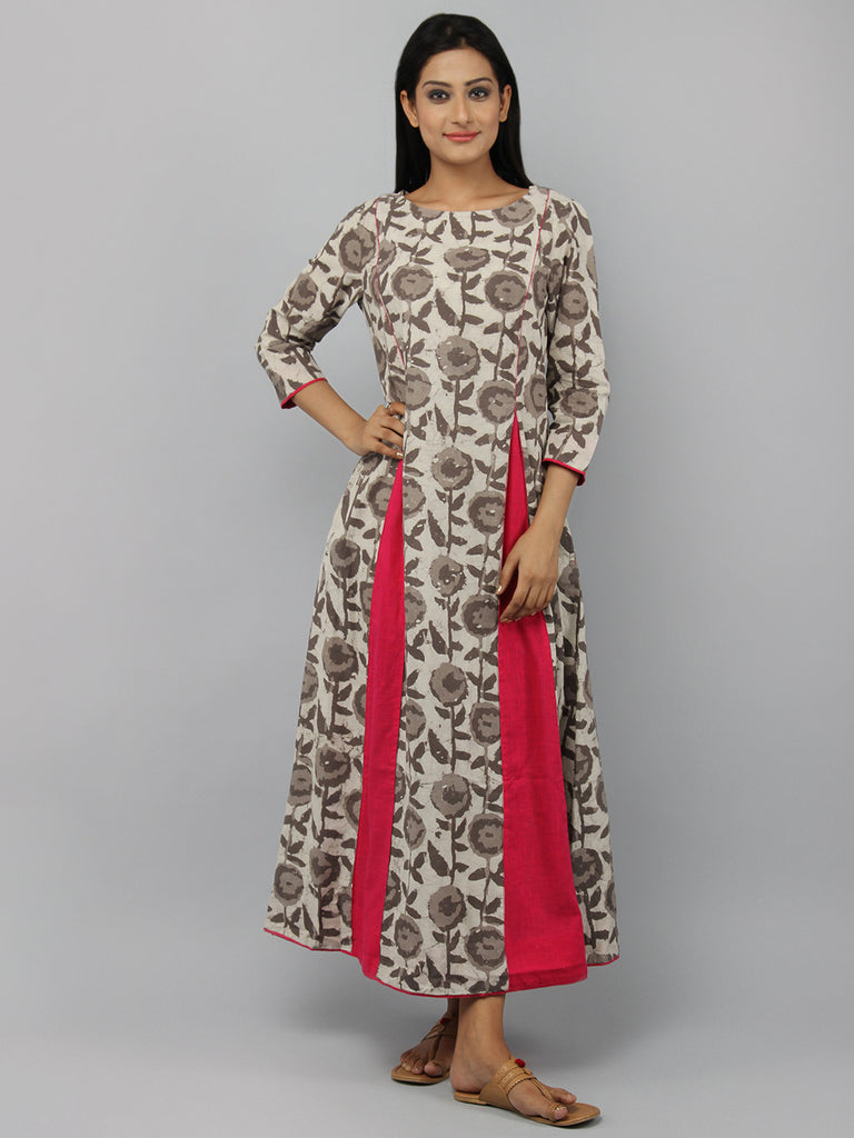 Brown Off White Magenta Hand Block Printed Cotton Maxi Dress
