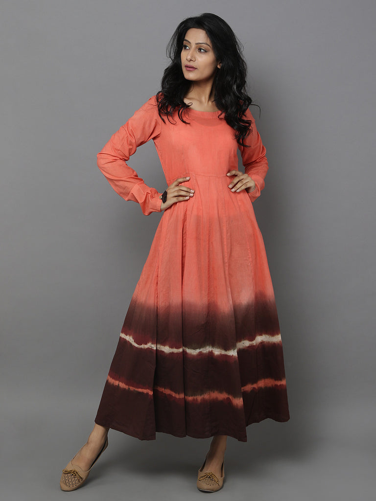Orange Brown Tie and Dye Cotton Anarkali Dress