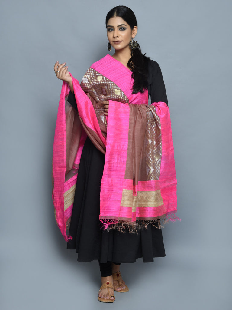 Brown Pink Kora Cotton Handwoven Banarasi Dupatta
